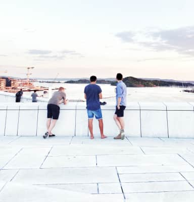 Young adults chatting in front of the bay