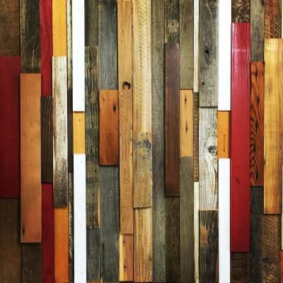 Wood art panel made out of reclaimed wood's cuts offs  No Waste Art