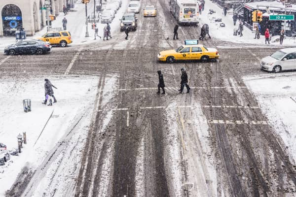 slushy street in Manhattan // New York City, New York, USA