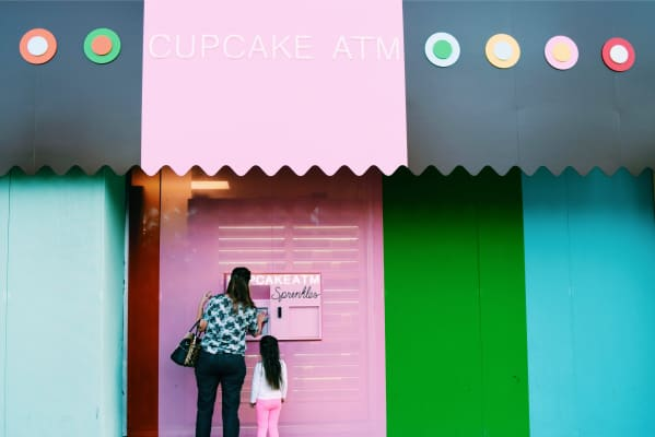Cupcake ATM with her Nana 💞