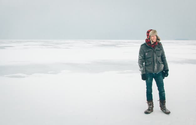 Exploring on the ice in Bayfield Wisconsin.