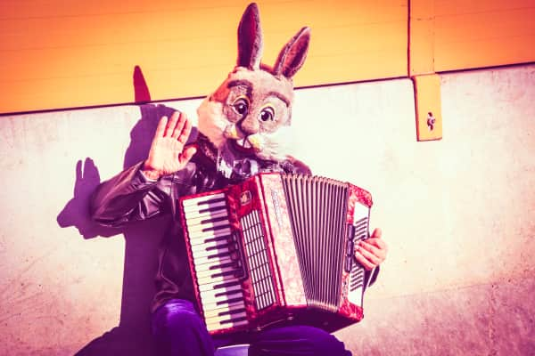 Musician Wearing Bugs Bunny Mask Plays Accordion And Greets