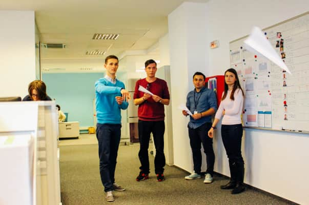 Fun at work. Paper planes contest