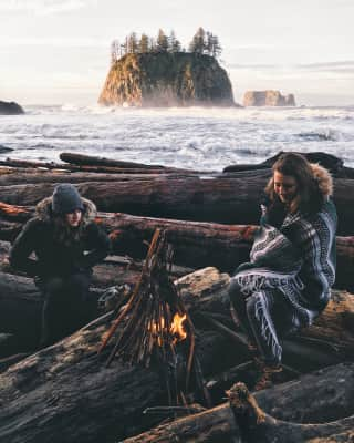 Trying to stay warm on the coast of Washington