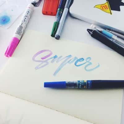 Pale blue brush calligraphy