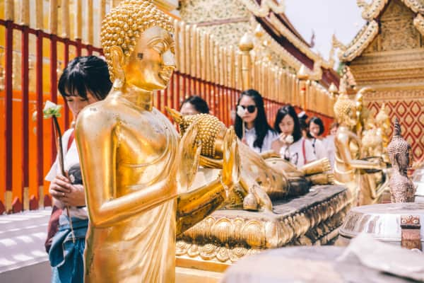 Golden Buddha at the Wat Phra That Doi Suthep located in Chaing Mai, Thailand. The temple was founded in 1383.