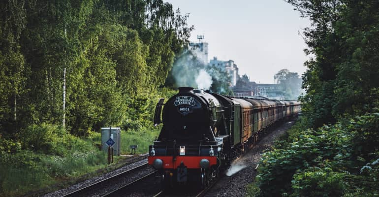 The Flying Scotsman passing through Andover, Hampshire.