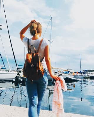 Girl and yacht