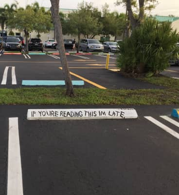 A senior's parking space at my son's school. I love it!