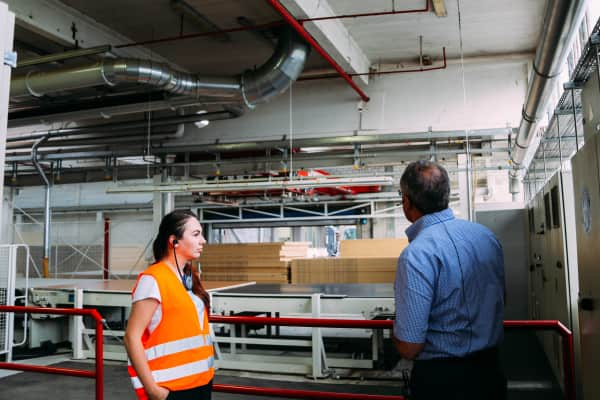 Guided visit in a manufacturing wood plant factory