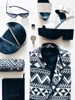 Black and white fashion flat lay.
