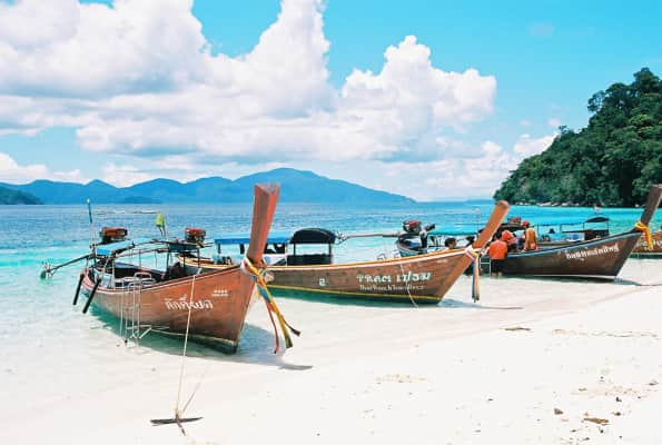 Beach south of thailand, boats, sea, beautiful, nature