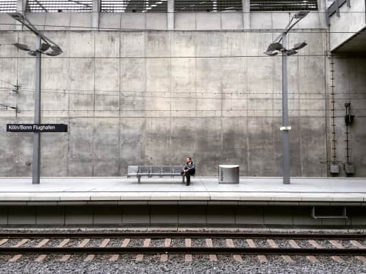 Man is waiting for the train