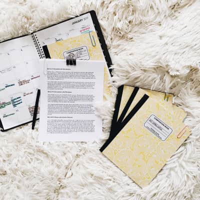 Back to School organizational spread in white, cream and yellow