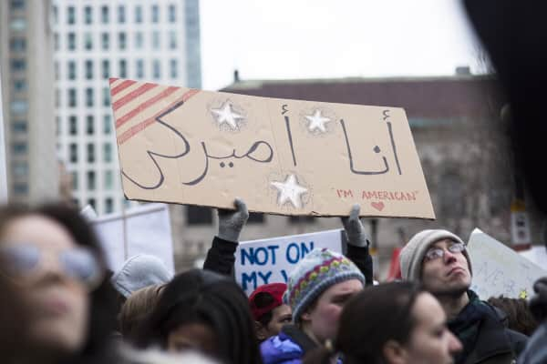 Thousands gather in Copley Square in protest of President Trump's Muslim ban.