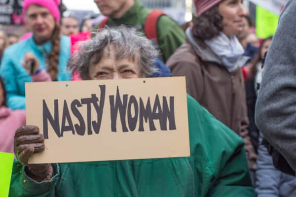 Protestor at Women's March on New York City