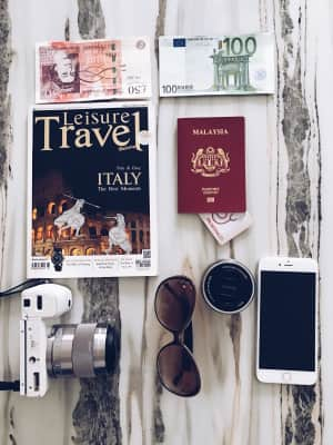 Passport,cash,medical insurance,camera,iPhone,sunglasses,lenses