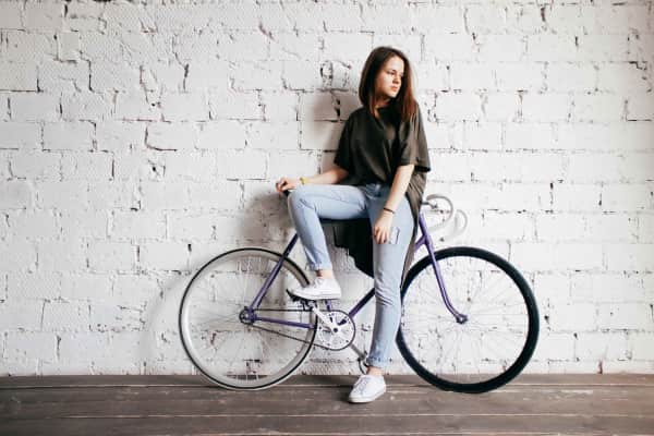 The girl on a bicycle