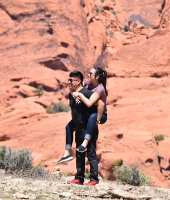 Cute couple on vacation in Red Rock Canyon Las Vegas Nevada