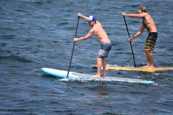 Two guys paddleboarding