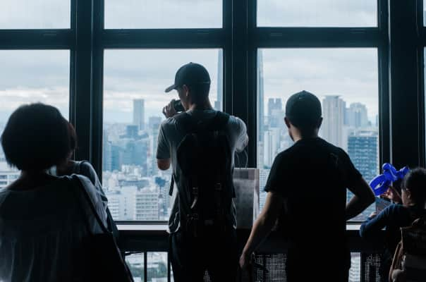 Tourists at Tokyo Tower.