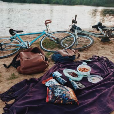 evening picnic on the sandy beach on the lake
