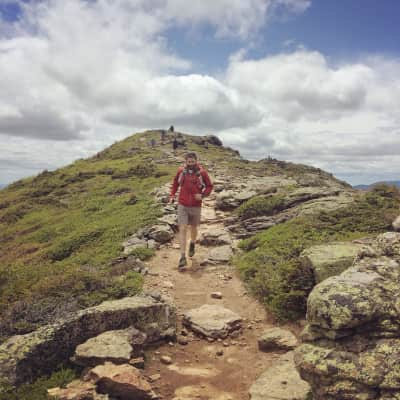 Fastpack trailrunning on the Franconia Ridge Trail. This section of the thirty mile Pemi Loop is part of the Appalachian Trail