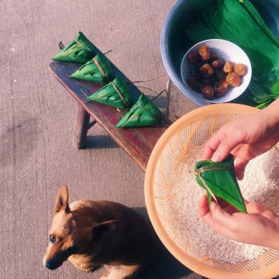 My mother made Chinese food zongzi, it is so delicious,a dog is very want to eat something.Photo by iPhone6+.