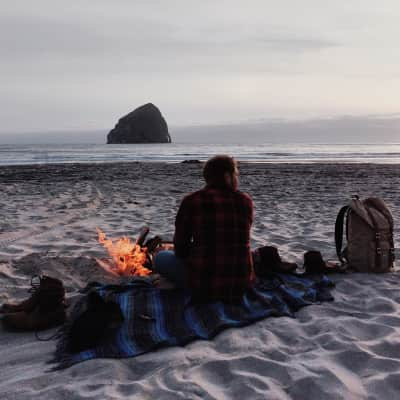 Campfire on the beach in Oregon