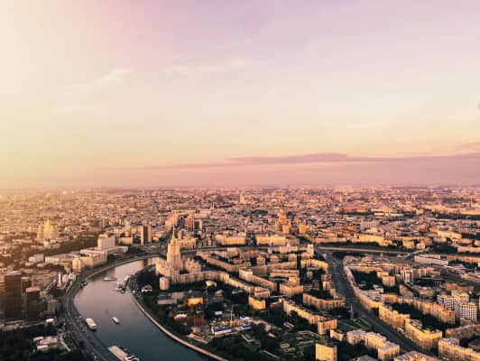 Birds eye view from 374 meters above. Moscow