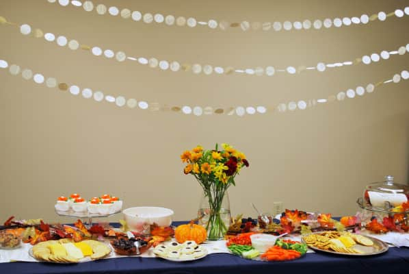 Once Upon A Time Bridal Shower, fall, leaves, pumpkins, orange, book pages.
