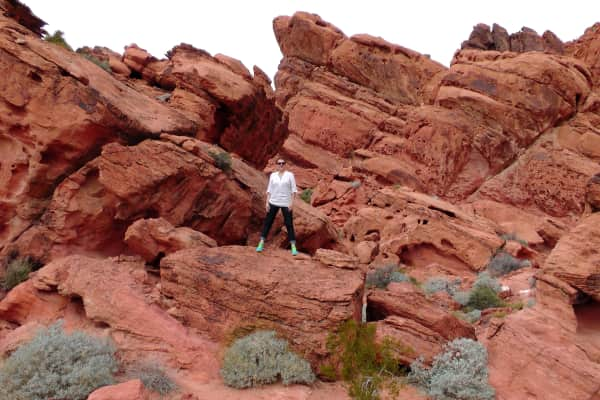 Exploring the red rocks in the Valley of Fire State Park.