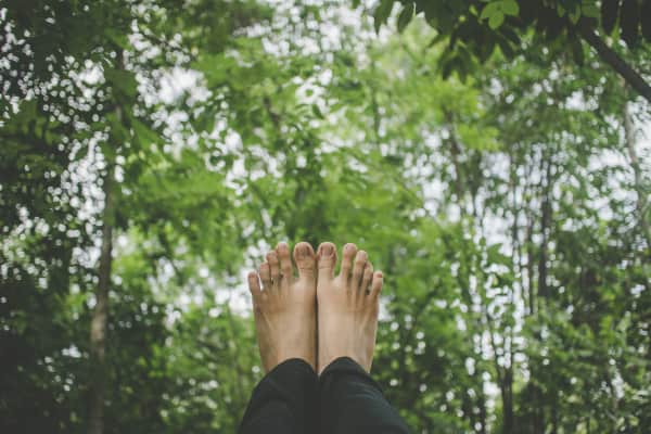 Photograph of feet in the air