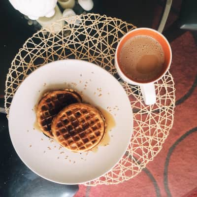Pumpkin spice eggo waffles and pumpkin spice coffee.