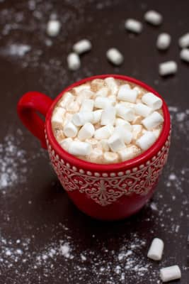 cocoa with marshmallows in a festive red mug