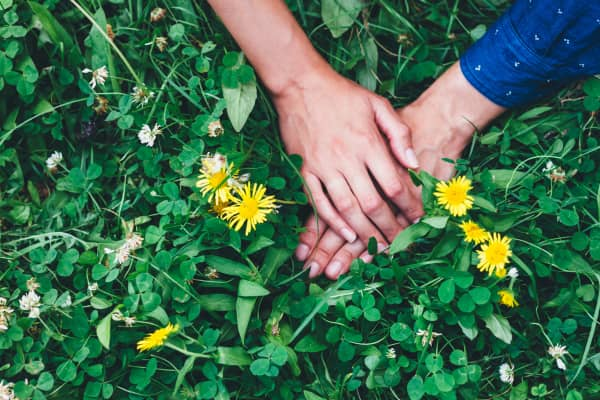 Hands of couple on the lawn