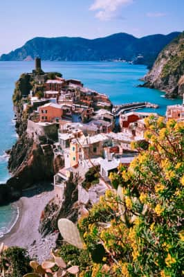 Vernazza, Italy, with sight of Monterosso in the distance.