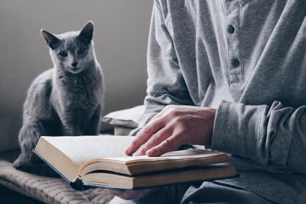 The man reads the book of the house together with a cat