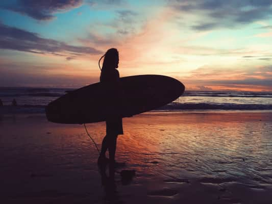 sunset surfing time