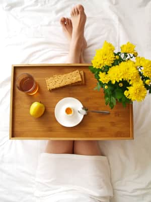 Breakfast in the bed. Top view. Mother's day