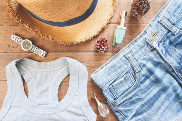Flat lay of female casual clothes, Overhead shot of summer collection