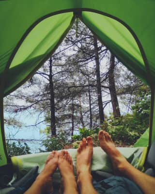 beautiful sea view from a tent