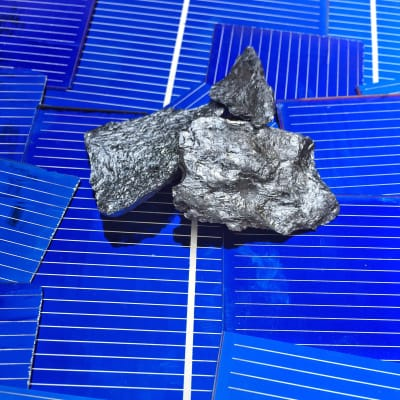 Lumps of pure silicon on pieces of silicon-made solar cells.