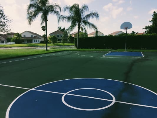 Empty basketball court in a south Florida suburb