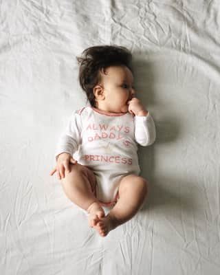 Little baby in body writing always daddy's princess