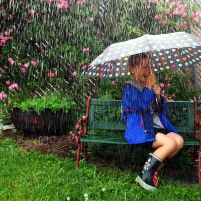 Children love the rain and puddles