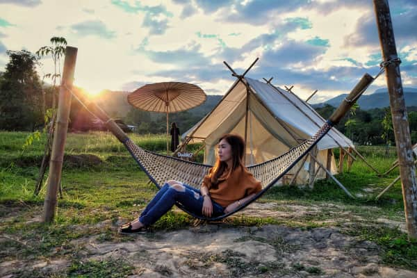 Women in camping nature