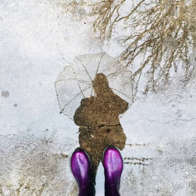 Rainy day in purple boots