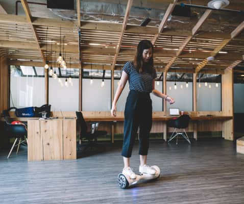 Woman on hover board