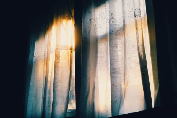 The soft morning light leaks into the room